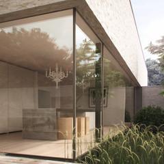 Modern kitchen in minimalist house (3D render)