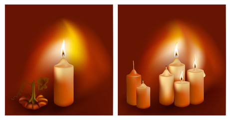 Vector. Burning candles on dark background