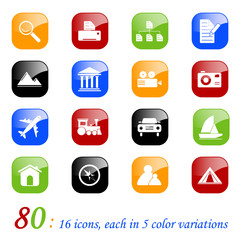 Photo and travel icons - color series