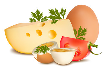 Vector illustration. Cheese with tomato and boiled egg
