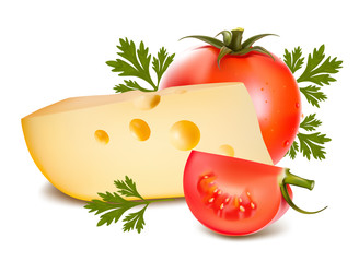 Vector illustration. Cheese with tomato.