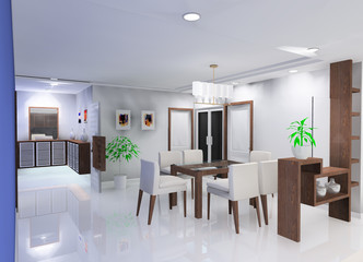 a dining room in the apartment