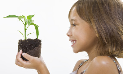 A child holds a young plant
