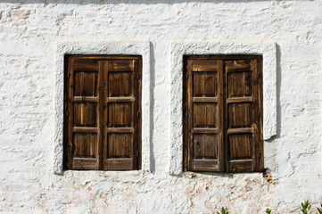 tow rustic Windows wooden Closed