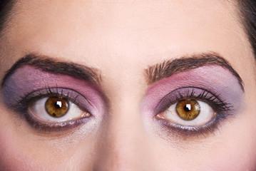 Close up eyes with make up
