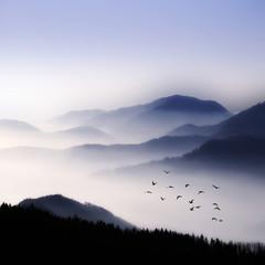 Foto auf AluDibond Gebirge Survol
