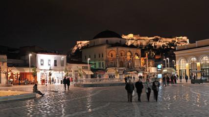 Recess Fitting Athens Monastiraki square at night, Athens, Greece