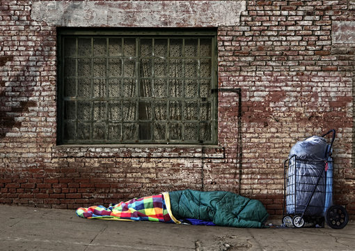 Transient Homeless Soul Sleeping on the Streets