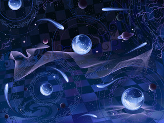 Abstract surrealistic space landscape