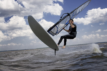 Windsurfer flying in the air