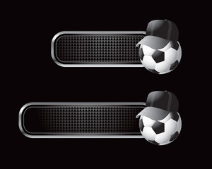 Soccer ball with hat on black tabs