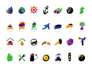 Colorful icons for travel and car services
