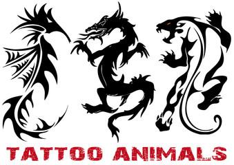 vector illustration tattoo dragon, lion, seahorse