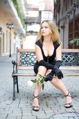 beauty sexy woman in black dress