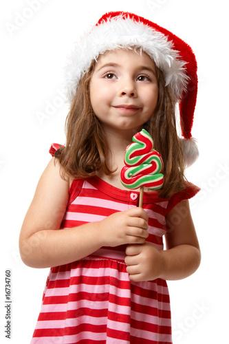 c54f4622d40e6 Pretty santa girl with christmas lollipop