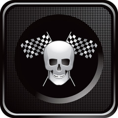 Skull and crossed racing flags on black web icon