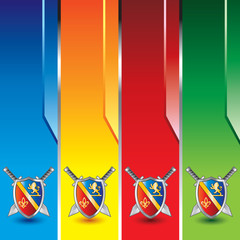 royal shields on colored vertical banners