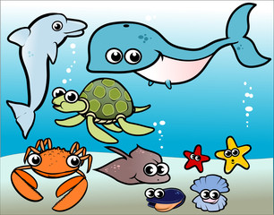 cartoon ocean animals