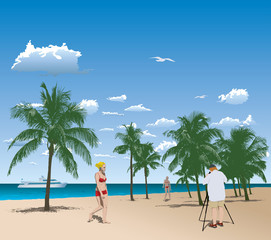 Vector illustration of tourists in tropical beach