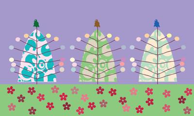 Christmas tree background, vector art