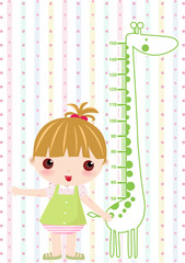 Photo sur Aluminium Echelle de hauteur Kid girl scale hight