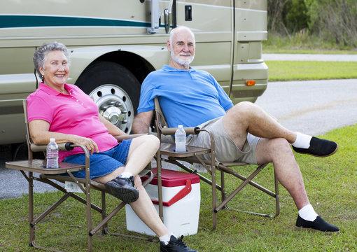 RV Seniors Relaxing Outdoors