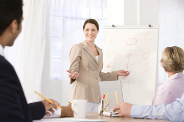 confident business woman giving presentation.