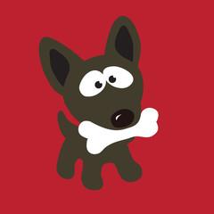 Small Dog with Bone