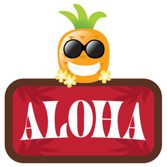 Isolated Pineapple with red Aloha sign