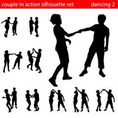 couple in aciton in silhouette set 2