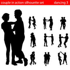 couple in action silhouette set 3
