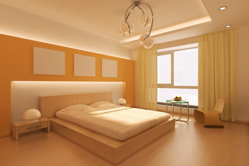 3d rendering interior of a modern bedroom
