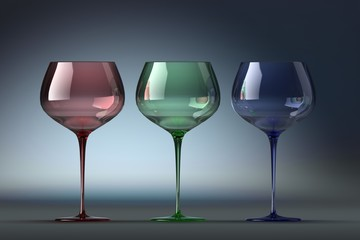 3d rendering three goblets