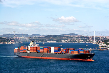Container ship moving through Istanbul