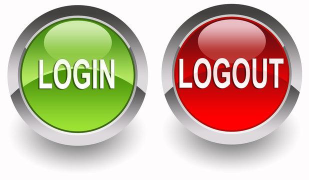 Login/Logout glossy buttons