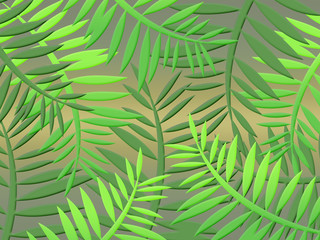 Poster Tropical Leaves tropical jungle with dense vegetation leaves