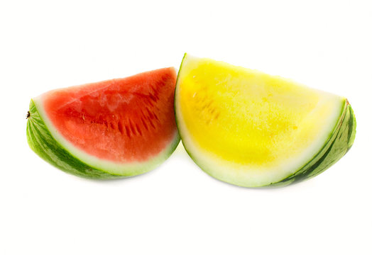Yellow and red watermelon