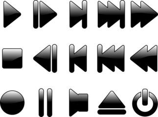 glossy multimedia symbols - vector