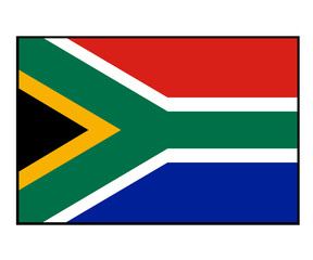 Illustration of South Africa flag, isolated on white background.