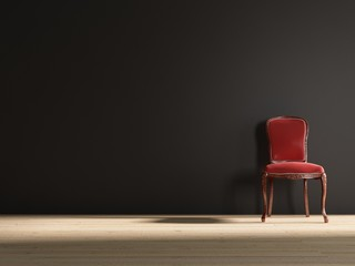 Old red baroque chair to face a blank wall