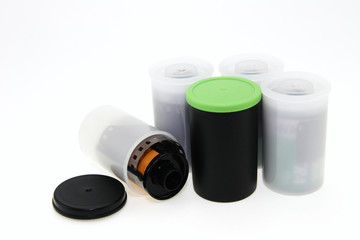 Group of enclosures with films.