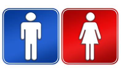 Male female sign over white
