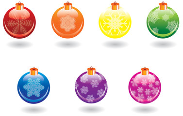 Christmas balls set over white background, vector