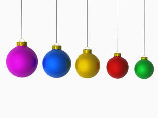 colourful christmas balls arranged from large to small