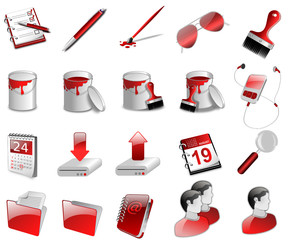 3D Iconset red
