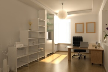 3d rendering interior of a study room