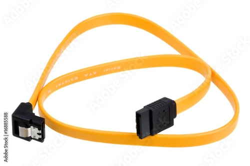 Yellow computer sata cable for connect drive isolated on