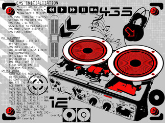 Turntable Music Print Design Artwork