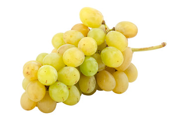 bunch of fresh white grapes, isolated on white background