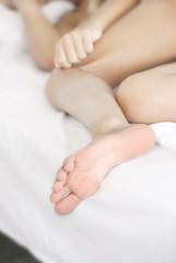 Sleeping girl foot